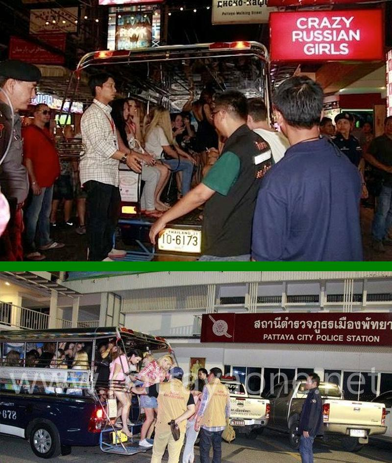 Polizeirazzia in zwei russischen Go-Go-Bars in Pattaya