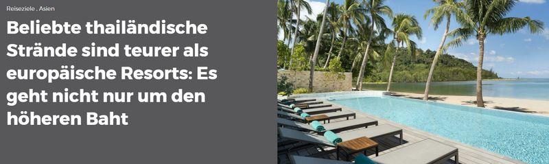 Urlaub in Thailand kostet mittlerweile mindestens genau so viel wie an beliebten Badeorten in Europa